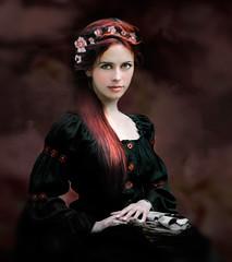 She knows ('_ellen_') Tags: flowers red portrait woman black hair