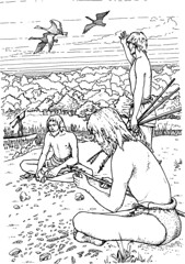 Mesolithic camp site (Wessex Archaeology) Tags: camp archaeology illustration fishing hunting tools archaeological flint visualisation reconstruction mesolithic