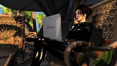 Tweet Tweet (alexandriabrangwin) Tags: world trees house holiday black cane sunrise computer 3d high chair graphics shiny sitting shadows laptop relaxing rubber palm secondlife virtual tropical heels latex wicker catsuit cgi twitter tweeting mondybristol alexandriabrangwin