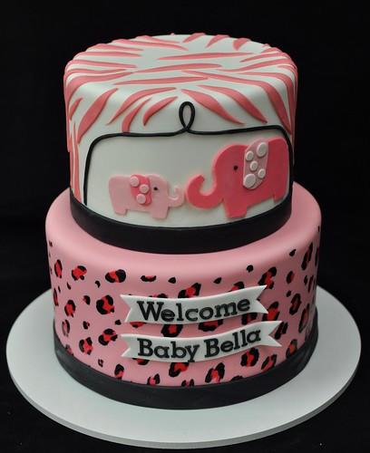 Pink Safari Baby Shower Cake