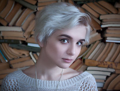 (www.Michie.ru) Tags: portrait white girl beautiful beauty japan youth silver japanese book model eyes young shelf teen intelligence moldova coloredhair   japanesephotographer
