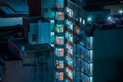 Johannesburg (elsableda) Tags: door city blue windows urban rooftop window architecture night stairs buildings dark long exposure cityscape nightscape midnight walls dystopia dystopian