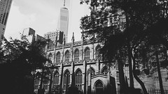 Trinity Church, NYC (Jess Claire❄) Tags: blackandwhite bw monochrome architecture building outdoor church trinitychurch nyc newyorkcity newyork catholic usa financialdistrict wallst wallstreet olympusomdem10
