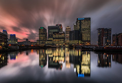 London Calling (Jerry Fryer) Tags: dusk sunset docklands isleofdogs canarywharf blackwallbasin london clouds longexposure leefilters reflections bluehour lights boats cityscape world bay sky blue 6d ef1740mmf4l night nightscape