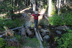 Balancing act at Skyline Creek (rozoneill) Tags: maiden peak trail waldo lake pacific crest oregon hiking willamette pass gold skyline odell butte volcano forest eugene