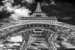 Under the skirt of Paris (_Robert C_) Tags: paris france architecture clouds blackwhite eiffeltower sigma 1020mm topazremask