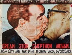 """My God, Help Me to Survive This Deadly Love"" (Shamus O'Reilly) Tags: streetart berlin germany graffiti mural kiss kissing surreal eastsidegallery leonidbrezhnev erichhonecker dmitrivrubel"