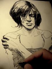 201504020015 (lindenb) Tags: portrait art face illustration paper sketch artwork hand drawing retrato femme main gimp dessin sheet papier fille visage onedrawingaday