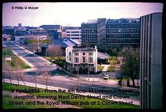 From the Hozzy. April 1993. (philipgmayer) Tags: royalhospital royalwilliam pub demolished westderbystreet crownstreet liverpool zenit zenith camera 1993 1000