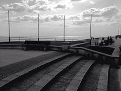 Deal UK (jcbkk1956) Tags: sea blackandwhite beach mono kent steps promenade deal contrejour shimmer