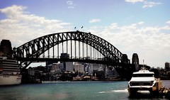 Sydney Harbor Bridge (Clare-White) Tags: city bridge sky water architecture clouds buildings harbor ship sydney australia