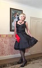 Silky dress and petticoat (bethany_labelle) Tags: black stockings tgirl transvestite satin petticoat silky