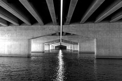 Under the Bridge (Kyle-W) Tags: bridge bw water canon under tokina t3i 1116mm