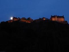 Edinburgh Castle at night (stillunusual) Tags: travel urban moon building history architecture night dark landscape evening scotland edinburgh cityscape edinburghcastle urbanlandscape castlerock urbanscenery 2016 travelphotography historicalplaces travelphoto travelphotograph