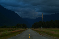 Long Road (Kristian Francke) Tags: blue cloud lake canada storm lines rain yellow clouds landscape grey bc pentax gimp columbia british 28 zenit pitt 58mm f8 44 k4 helios 160 100iso k50