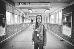 Platform 4 (Steve Lundqvist) Tags: street portrait bw girl monochrome underground subway dof metro tube tunnel ritratto metropolitana sportwear