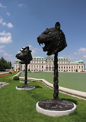 Tiger, Ox, Rat and Belvedere caste (Marie Kappweiler) Tags: vienna wien china park sculpture castle art statue bronze europe artist kunst skulptur belvedere zodiac schloss chteau parc vienne zodiaque chinesisch weiwei sternzeichen bildhauer aiweiwei circlesofanimals zodiacheats