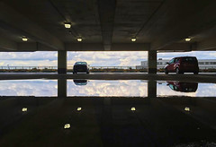 Reflections (DaveWilliams) Tags: alfa romeo 156 flood rain sky car park