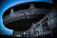 Big ideas don't last forever- (erglis_m (Mick)) Tags: abandoned contrast canon concrete graffiti interesting vivid ufo bulgaria urbanexploration soviet unusual lowkey vignetting sureal urbex sovietart tagart canoneos5dmkiii bouzloudja