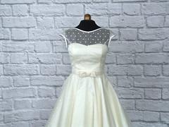 The Dotty Silk Dress (Ryley & Flynn Vintage) Tags: 1950s 50s vintage wedding dress short tea length silk organza