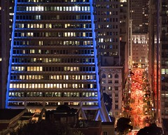 Pyramid of Color (RZ68) Tags: transamerica pyramid san francisco superbowl 2016 downtown california lights colored blue red lavender telephoto rz67 velvia provia e100 telegraph hill night cityscape cars traffic financial district montgomeryst street long exposure offices windows business busy crowded denver broncos super bowl 50 carolina panthers