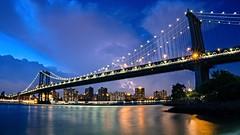 Manhattan Bridge after Sunset (Billy K. Chen) Tags: nyc newyork newyorkcity brooklyn manhattanbridge longexposure clouds reflection skylline nightphotography