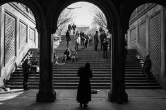 An Opera Under the Arches. (Steven.O'Toole) Tags: street new york city light boy shadow people bw woman white man black men girl night canon silver photography grey women day cityscape candid gray 70d 18135mm
