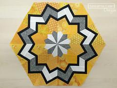 Arcadia Avenue Block 5 - Blooming (Sassafras Lane Designs) Tags: gold pattern quilt sewing foundation lane designs hexagons bom avenue arcadia sassafras batik paperpiecing quiltalong
