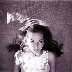 (Esther'90) Tags: summer portrait blackandwhite bw woman sunlight film sunshine mediumformat lights shadows leafs
