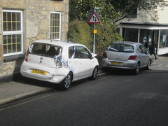 Local Fender Bender. (RUSTDREAMER.) Tags: cornwall accident crashed seat peugeot penzance rustdreamer