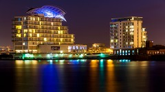 St Davids Hotel, Cardiff Bay (technodean2000) Tags: uk light reflection water st wales night lens hotel bay nikon long exposure south cardiff capitol 28 mm lit 300 28300mm davids lightroom d610 photoscape