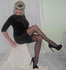 In hose and nylon-lycra shorts (queen.catch) Tags: femme transgender sissy tranny heels biker shorts spandex lycra ladyboy shemale trannypantyhose