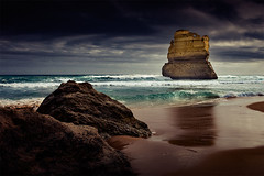 Apostle at Ground Level (Leanne Cole) Tags: ocean seascape water landscape moody photographer cloudy photos overcast australia images victoria environment greatoceanroad 12apostles fineartphotography gibsonsteps apostle environmentalphotography fineartphotographer nikond800 environmentalphotographer leannecole leannecolephotography
