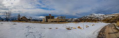 Panoramic House in Snow, Lebanon (Paul Saad (( ON/OFF ))) Tags: winter sky panorama lebanon mountain lake snow mountains water clouds landscape nikon outdoor pano hill panoramic mountainside qartaba laklouk afka kartaba akoura