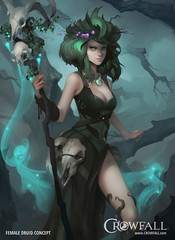 Druid, mage and healer of Crowfall MMORPG (JamesGoblin) Tags: crowfall mmo mmorpg pvp game gaming pc voxels vr virtual reality koster sandbox medieval fantasy gameofthrones eveonline eve illustration entertainment fun computers cyberculture online crowdfunding kickstarter games onlinegames videogames voxel proceduralgeneration procedural virtualreality computer rpg poster art multiplayer conceptart druid girl woman concept girls women female females skirt skirts sexy magic mage sexappeal sorceress sorcery wild hairstyle hair necklace leg legs nature staff stave staves green boob boobs cleavage cleavages skulls skull wallpaper wallpapers posters