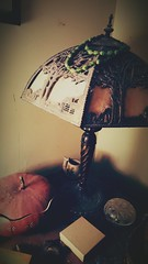 slightly askew (LauraSorrells) Tags: stilllife dusty home lamp this beads folkart object gourd 2016 localart thriftstoreplunder