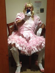 Soooo don't want to dressup tonight. But told I HAVE to (shellyanatine) Tags: pink dress sissy forced maid frilly feminization petticoated