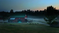 Misty dusk (Blackpepper eye) Tags: mist misty fog barn rural midsummer sweden outdoor dusk norrtlje ruralscene rdmans mutsunda nordiccoutries