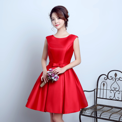 Braut Hochzeit Toast Kleidung kurze Schulter rot