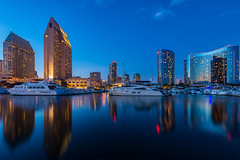 Mirror, Mirror (Nick Burwell) Tags: california city travel sunset urban cali skyline marina landscape nikon cityscape sandiego socal bluehour d800e nikond800e