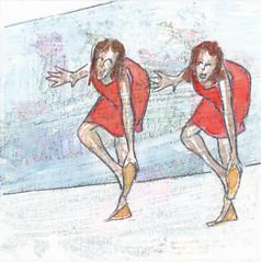 # 188 (06-07-2016) (h e r m a n) Tags: herman illustratie tekening bock oosterhout zwembad 10x10cm 3651tekenevent tegeltje drawing illustration karton carton cardboard tweevrouwen twowomen jurkje jurk dress