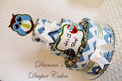 Baby Diaper Cake Owls in Ties Boys Shower Centerpiece (2) (Dianna's Diaper Cakes) Tags: baby diaper cakes shower centerpieces gifts boys girls neutral diannas decoration