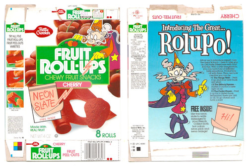 1989 General Mills Fruit Roll-Ups Box Great Rolupo