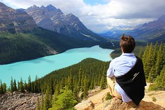 Contemplating Peyto Lake (Eduardo Ruiz M.) Tags: banff lake landscape mountain outdoor postcard travel canada bow park forest