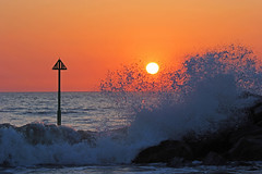 The Wave (John Ibbotson (catching up!)) Tags: ocean sunset sea sun silhouette wales coast waves ceredigion borth