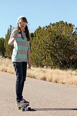 (K. Sawyer Photography) Tags: road trees portrait girl sunglasses phone skateboarding cellphone teen skateboard teenager recording teenage placitasnewmexico