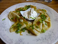pierogis at Cafe Europa in San Francisco (Fuzzy Traveler) Tags: sanfrancisco mushroom restaurant richmond cabbage photostream sourcream pierogi comfortfood cafeeuropa easterneuropean