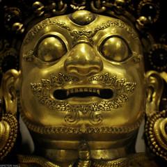 Bhairava Mask (peterphotographic) Tags: uk england london face statue museum square gold nikon britain va shiva victoriaalbertmuseum d300s bhairavamask camerabag2 peterhall dsc3565sqed1cb2slredwm
