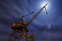 night cranes (eb78) Tags: longexposure industrial dogpatch nightphotography graffiti sf sanfrancisco ue urbex urbanexploration ca california pier70 npy