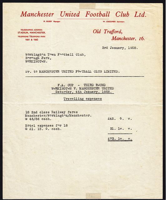 Manchester United Official letter to Workington Town F.C. regarding their 3rd Round F. A. Cup tie on 4th January 1958